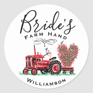 Vintage Old Red Tractor Heart Bride Farm Hand Classic Round Sticker