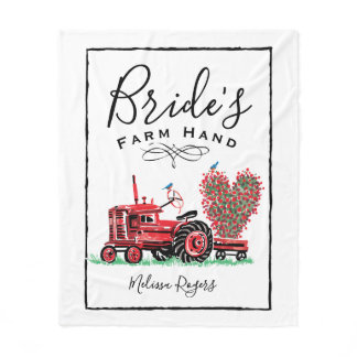 Vintage Old Red Tractor Heart Bride Farm Hand Fleece Blanket