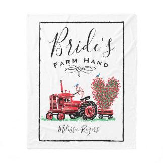 Vintage Old Red Tractor Heart Bride Farm Hand Fleece Blanket
