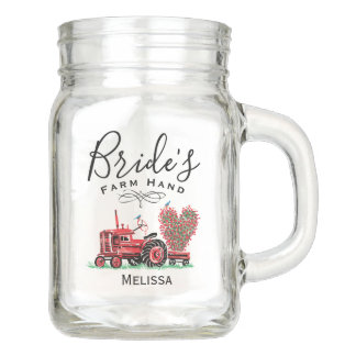 Vintage Old Red Tractor Heart Bride Farm Hand Mason Jar
