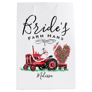 Vintage Old Red Tractor Heart Bride Farm Hand Medium Gift Bag