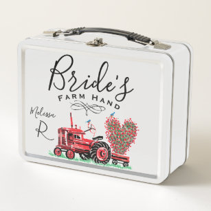 Redhead bride at tractor