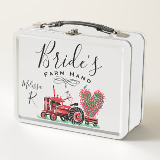 Vintage Old Red Tractor Heart Bride Farm Hand Metal Lunch Box