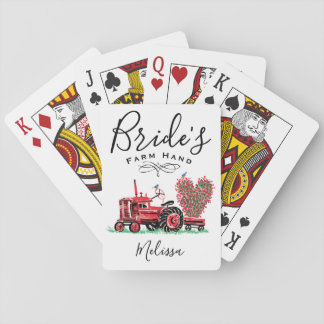 Vintage Old Red Tractor Heart Bride Farm Hand Playing Cards