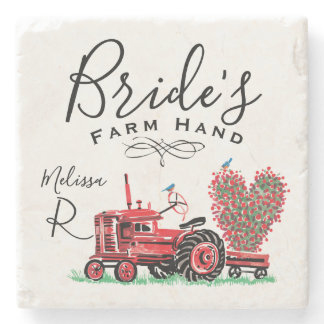 Vintage Old Red Tractor Heart Bride Farm Hand Stone Coaster