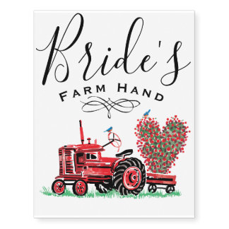 Vintage Old Red Tractor Heart Bride Farm Hand Temporary Tattoos