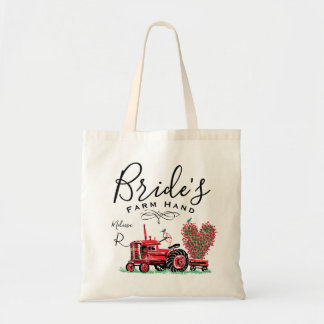 Vintage Old Red Tractor Heart Bride Farm Hand Tote Bag