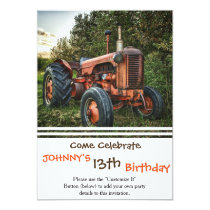 Vintage old red tractor invitation