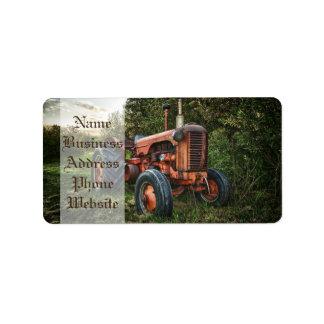 Vintage old red tractor label