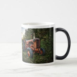 Vintage old red tractor magic mug