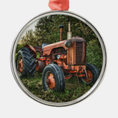 Vintage Old Red Tractor Metal Ornament at Zazzle