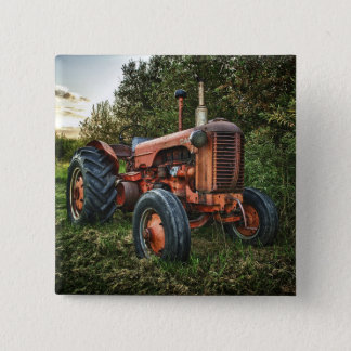 Vintage old red tractor pinback button
