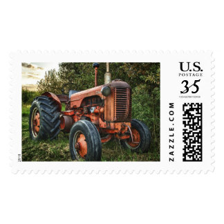 Vintage old red tractor postage