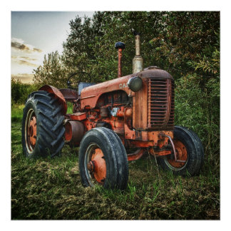 Vintage old red tractor poster