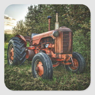 Vintage old red tractor square sticker