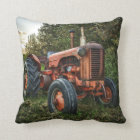 Vintage old red tractor throw pillow