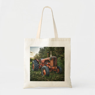 Vintage old red tractor tote bag