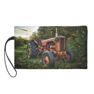 Vintage old red tractor wristlet purse