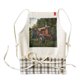 Vintage old red tractor zazzle HEART apron