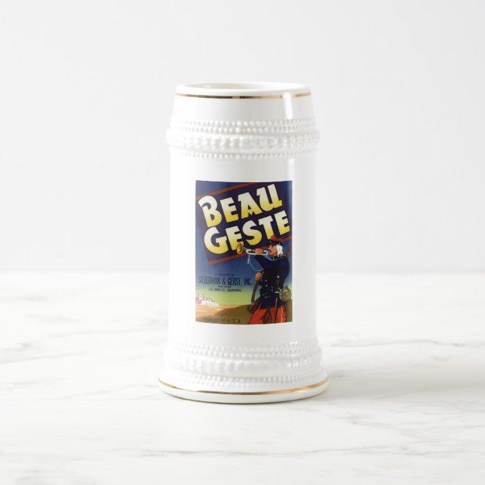 Vintage Old Retro Crate Product Goods Label Veggie Beer Stein