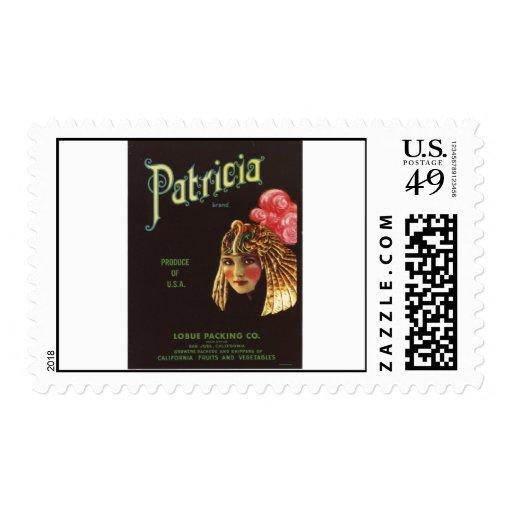 Vintage Old Retro Crate Product Goods Label Veggie Postage Stamp