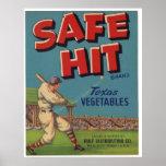 Vintage Old Safe Hit Baseball Fruit Crate Labels Poster