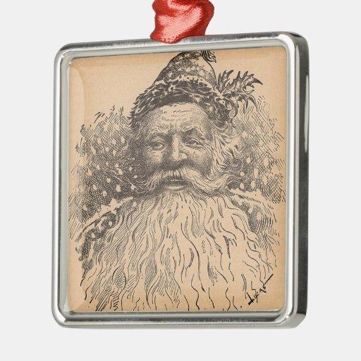 Vintage Old Saint Nick Square Metal Christmas Ornament