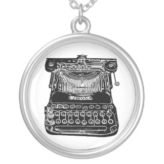 Vintage, old school, typewriter round pendant necklace
