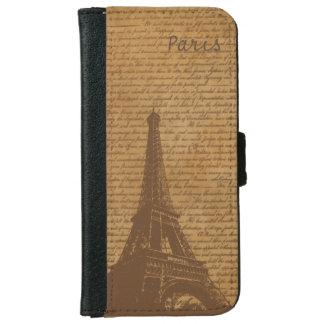 Vintage Old Scripts Paris Eiffel Tower Wallet Phone Case For iPhone 6/6s