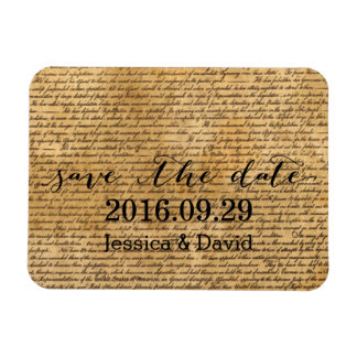Vintage Old Scripts Wedding Save the Date Magnet