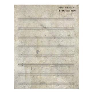 Vintage Old Stained Blank Sheet Music 8 Stave Personalized Letterhead