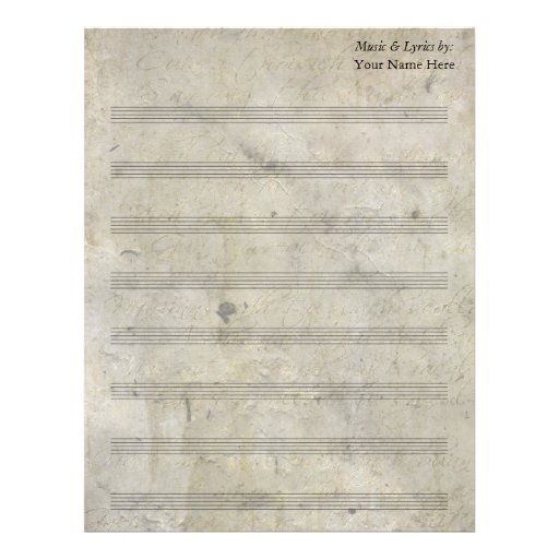 Vintage Old Stained Blank Sheet Music 8 Stave Letterhead
