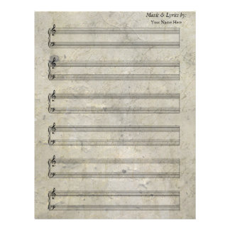 Vintage Old Stained Sheet Music Piano 6 Stave Letterhead