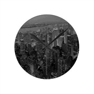 Vintage Old Style New York City Script Round Clock