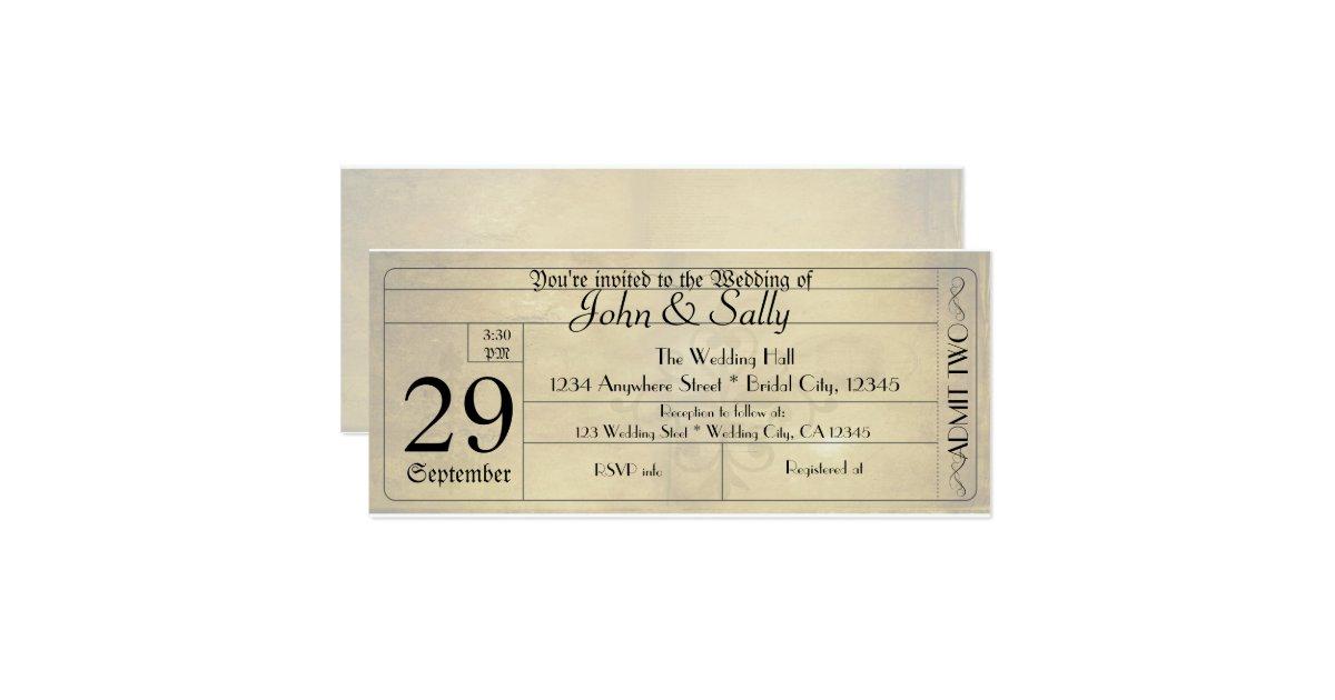 Vintage Old Style Ticket Wedding Invitation Zazzle