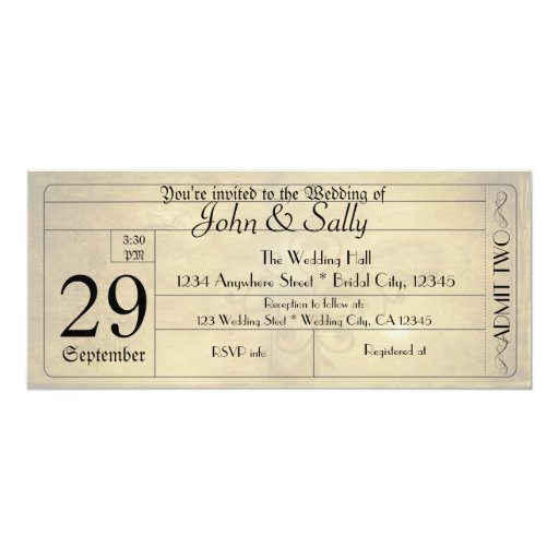 Vintage Old Style Ticket Wedding Invitation
