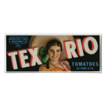 Vintage Old Tex Rio Tomatoes Fruit Crate Labels Poster