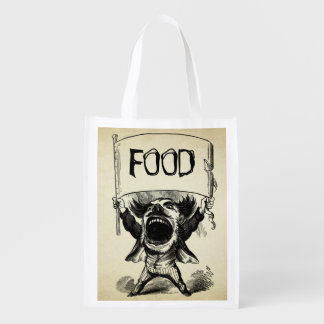 Vintage Old Time Big Mouth Man With Custom Sign Grocery Bag