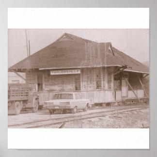 Vintage Old-time Train Depot Taylorsville Miss. Poster