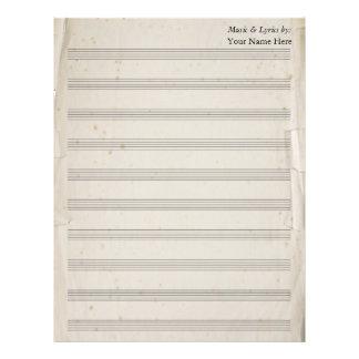 Vintage Old Torn Blank Sheet Music 10 Stave Letterhead