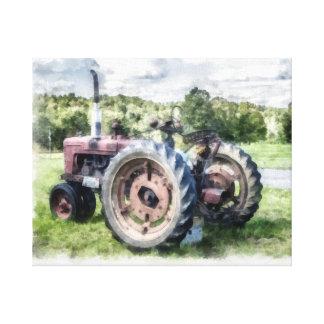 Vintage Old Tractor Watercolor 2 Canvas Print