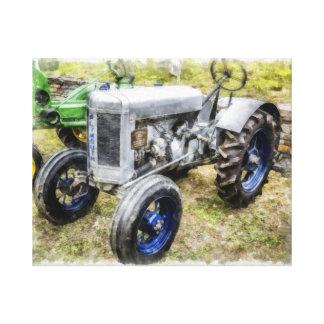 Vintage Old Tractor Watercolor Canvas Print
