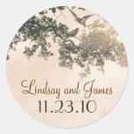 vintage old tree love birds wedding stickers