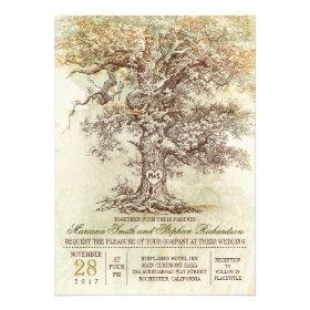 Vintage old tree rustic wedding invitation invitations