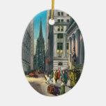 Vintage Old Trininty & Wall Street Christmas Ornaments