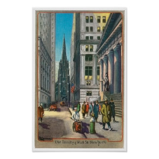 Vintage Old Trininty Wall Street Poster