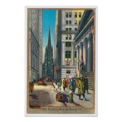 Vintage Old Trininty & Wall Street Poster