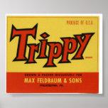 Vintage Old Trippy Fruit Crate Labels Poster