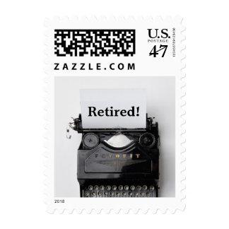 Vintage Old Typewriter Retirement Stamp