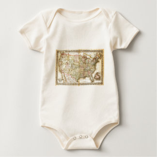 Vintage Old United States USA General Map Baby Bodysuit